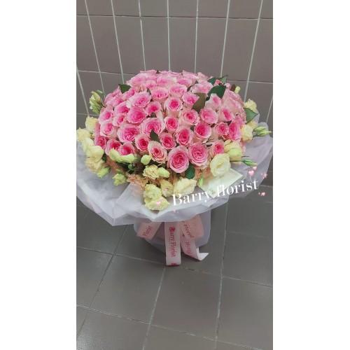 BOU 0166  粉紅色玫瑰99支+配花