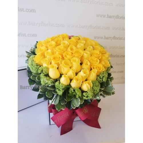 FB 0001 60支黃玫瑰+配花