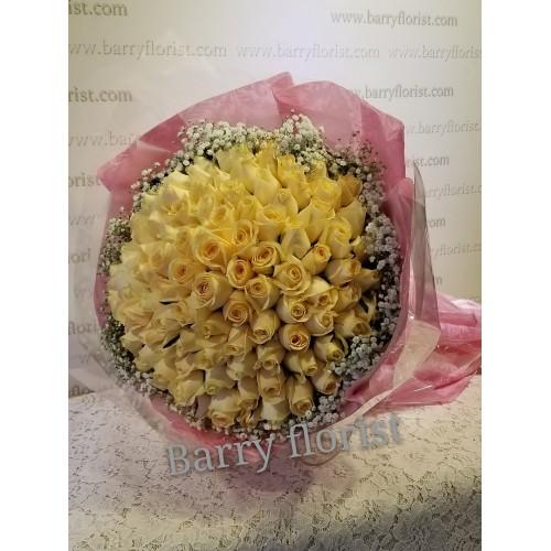 BOU 0125   99支A級進口香檳色玫瑰+季節性襯花