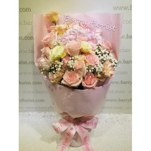 BOU 0127  20支美國玫瑰+粉繡球+桔梗+星花