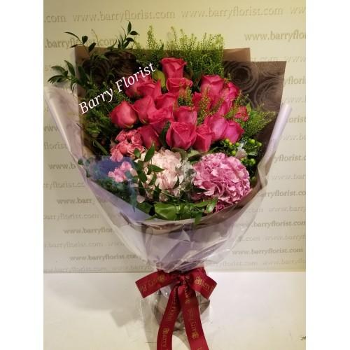 BOU 0129 20支進口玫瑰+2支繡球+配花