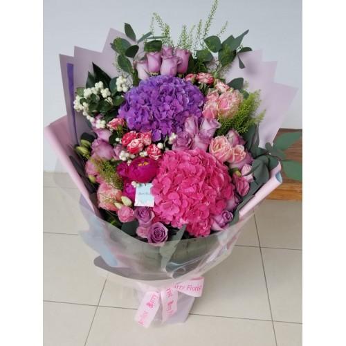 BOU 0155  繡球2支+玫瑰+鬱金香