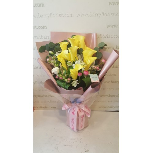 BOU 0153   10支黃色馬蹄蘭+季節性配花