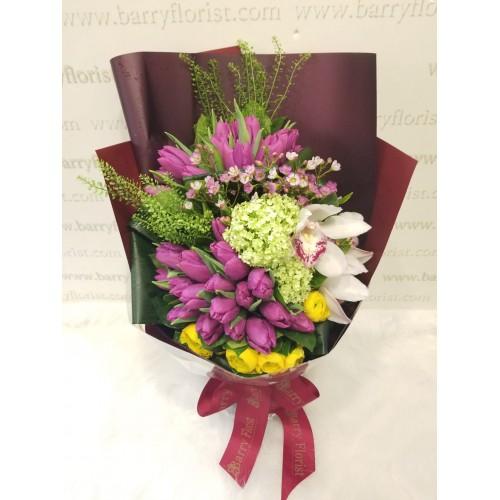 BOU 0160  紫色鬱金香30支+蕙蘭+季節性襯花