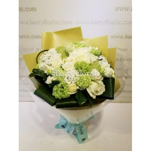 BOU 0110 10支A級進口白色玫瑰配襯花