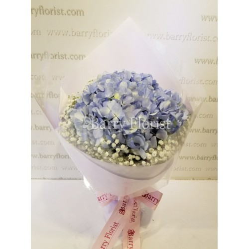 BOU 0113 淺紫色繡球花配滿天星襯花