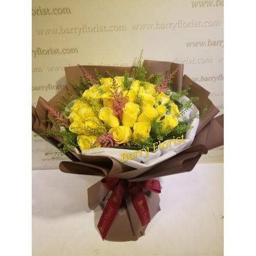 BOU 0125  36支進口黃玫瑰