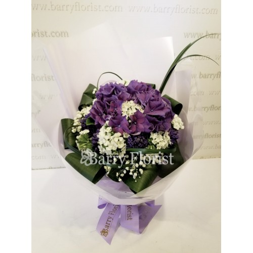 BOU 0114 紫色繡球 + 紫色風信子 + 季節性襯花