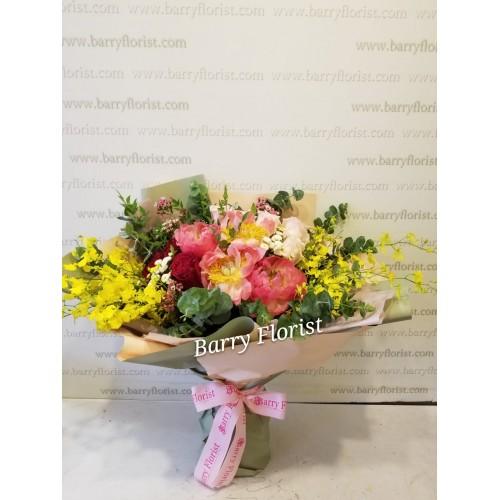 BOU 0149    牡丹+粉玫瑰+紅玫瑰+跳舞蘭+配花