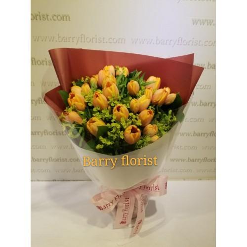 BOU 0131   20支橙色荷蘭鬱金香+配花