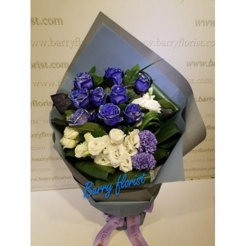 BOU 0120 10支歐洲閃爍藍色玫瑰+荷蘭配花