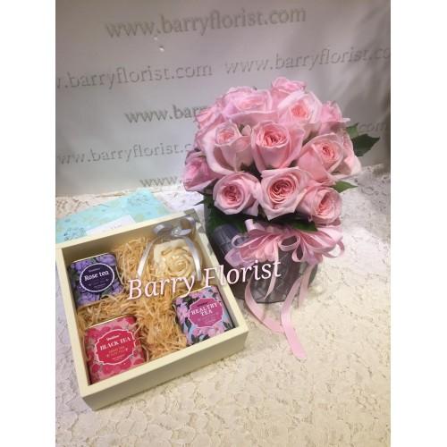 FB 0011  20支香水玫瑰+花茶禮盒...德國玫瑰花茶、茉莉花茶、水果茶+皂花1朵