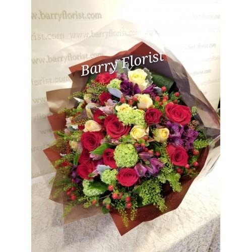 BOU 0124 20支進口紅玫瑰+10支進口香檳玫瑰+配花