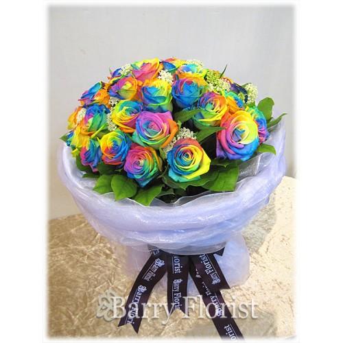 BOU 0068 20支進口彩色玫瑰 + 季節性襯花