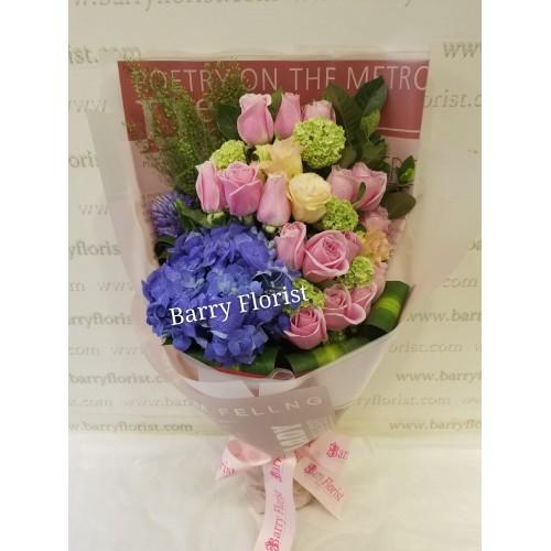 BOU 0130   20支粉玫瑰+1支紫繡球+襯花