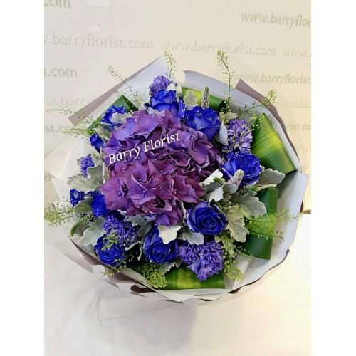 BOU 0147  荷蘭閃耀藍玫瑰10支+紫繡球1支+配花