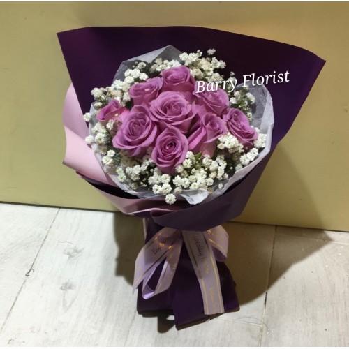 BOU 0145  9支紫色玫瑰+星花