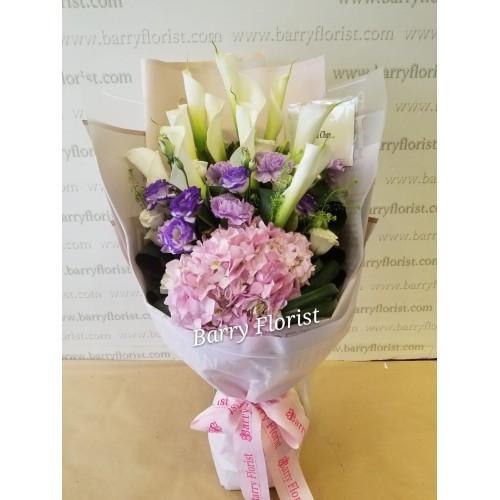 BOU 0139   10支進口白色馬蹄蘭 + 粉色繡球 +配花