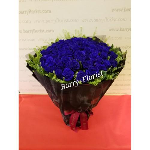 BOU 0144     99枝荷蘭籃色玫瑰花