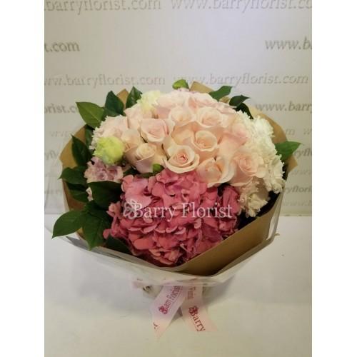 BOU 0119 20支玫瑰+粉繡球+配花